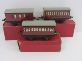 Rake of 3 Postwar Gauge 0 No41 BR Passenger Coaches Boxed