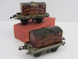 2 Hornby Gauge 0 LMS Flat Wagons with Furniture Containers