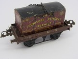 Postwar Hornby Gauge 0 LMS Flat Truck with Furniture Container