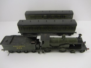 Vintage Tinplate Gauge 0 SR (Ex  LSWR) 4-4-0 Outside Third Electric Locomotive and 8-Wheeled Tender together with 2 SR Wood Construction Suburban Bogie Coaches